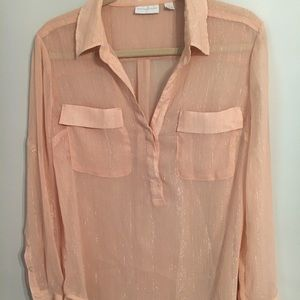 Champagne Pink Button-Up with Gold Stripes